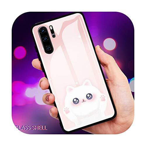 Lindo gato de dibujos animados teléfono caso de vidrio para Huawei P30 Lite 20 Por P9 10 Honor 8 X 9 10 NOVA 5 Cover-a7-For Huawei P20