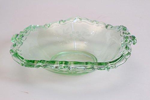 Unbekannt original antike Schale Glas Pressglas Art Déco 20er floraler Schliffdekor grün