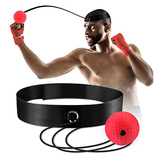 Boxing Reflex Ball, Fight Ball Reflex on String with Headband for Fight MMA Training Speed Reactions Adult/Kids Improve Punch Focus Sport Exercise Practice Fitness Elastic Rope Head Band Set Cap