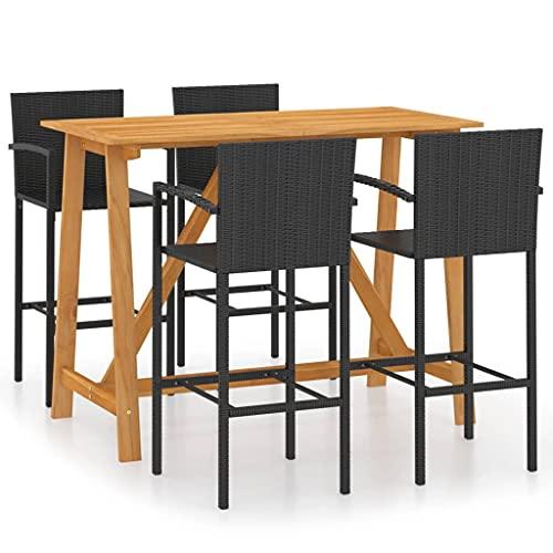 Juego de Muebles de jardín, Juego de Comedor al Aire Libre, Mesa de Patio y Juego de sillas, Juego de Barra de jardín de 5 Piezas, Color Negro
