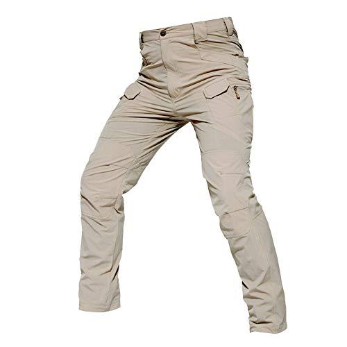 Gesh Hombre Pantalones Impermeable A Prueba de Viento Pantalones Deportes Exteriores Pantalones De Senderismo Multi-Bolsillo De Trabajo Pantalones Caqui