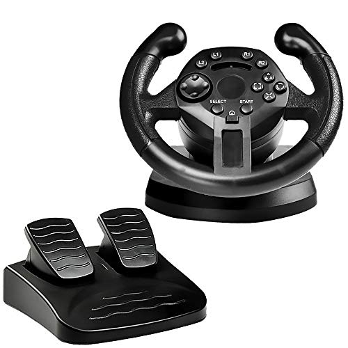 FT18 Racing Steering Wheel Controller Joystick Accelerator Brake Pedals Vibration Gamepad Simulation Driving Racing Toy for Playstation3 PS3/PC