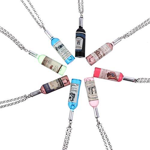 VORCOOL 20 Piezas Vintage Botellas de Vino Collar Mini Botella de Vino Colgante Collar Moda Punk Collar Joyería Regalo para Hombres Mujeres (Color Mixto)