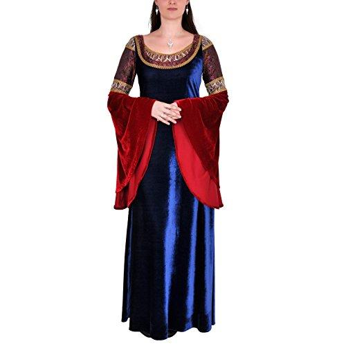 Elbenwald Kostüm Elbenkleid für Herr der Ringe Fans im Stil von Arwen bodenlang Brokat Spitze Weite Ärmel für Damen blau rot - 36/38