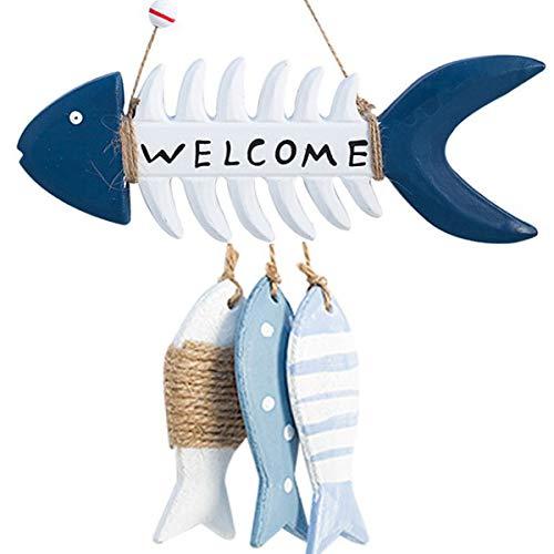 Tangger 2 Stk Colgante Pez de Madera Decoración de Red de Pesca de la Pared Estilo Mediterráneo,Wooden Fish Adornos de Madera Regalo Náutico Decoración para Colgar Pared Tienda Bar Familiar