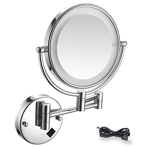 MTXJ Specchio Ingranditore da Trucco Specchio da Bagno da Parete Specchio Cosmetico Illuminato Ingradimento 7X con Luce LED, USB Ricaricabile