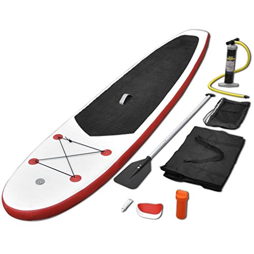 Festnight Tabla de Surf Inflable Sup Color de Rojo y Blanco