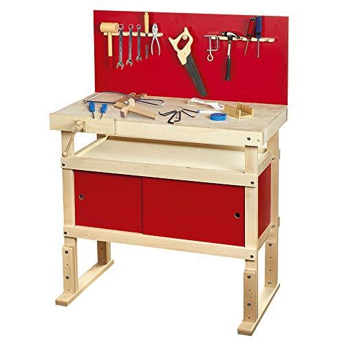 Leomark < Massive WERKBANK FÜR Kinder > Workstation mit 35 Zubehör, Spielwerkbank aus Holz, Kreativspielzeug, Lernspielzeug