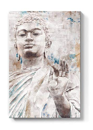 Lamplig Buddha Wall Art Zen Canvas Prints Beige Buddha Statue Pictures White and Gray Painting Framed Vintage Home Decor Rustic Blue Artwork for Living Room Yoga Bedroom 16'x24'