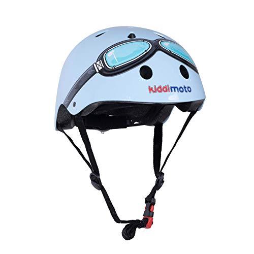 KIDDIMOTO Fahrrad Helm für Kinder - CE-Zertifizierung Fahrradhelm - Design Sport Helm für Skates, Roller, Scooter, laufrad - Blau Motorradbrille - M (53-58cm)