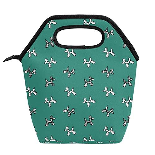Bolsa de almuerzo con aislamiento para perros Patern Teal resistente al agua, con cremallera para hombres, niños, escuela, trabajo al aire libre, baloncesto, regalo novedad