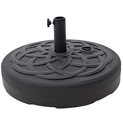 C-Hopetree Base Stand for Outdoor Patio Market Umbrella - 112 lb - Round - Black