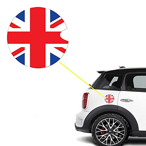 Xotic Tech Ultra Thick Red Blue Union Jack Flag Plastic Vinyl Sticker Compatible with Mini Cooper Gas Cap Cover