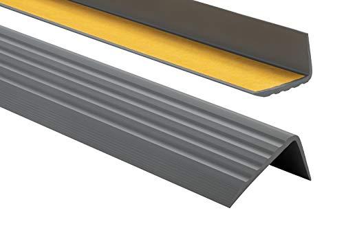 Nez de marche profil d'angle PVC autoadhésif 41x25mm antidérapant, d'escalier-protection, bande de bordure, 180cm, Gris