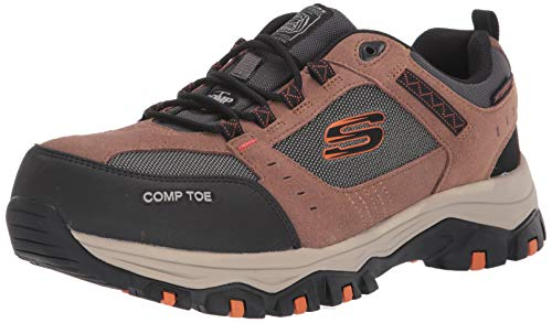 Skechers Men's Greetah Construction Shoe, Brown/Black, 11 M US