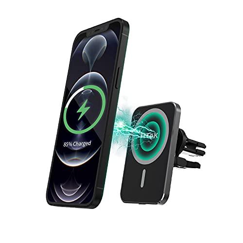 15W Caricatore Wireless Auto Compatibile con Mag-Safe, Supporto Telefono Auto Magnetico, Ricarica Wireless Auto Solo per iPhone 12/12 Pro/12 Mini /12 Pro Max (Clip di Ventilazione)