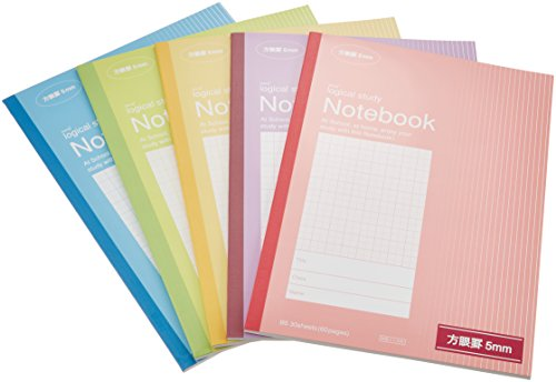 Nakabayashi swing logical study notebook grid 5mm 5 Color Pack NB5-H5-5P (japan...