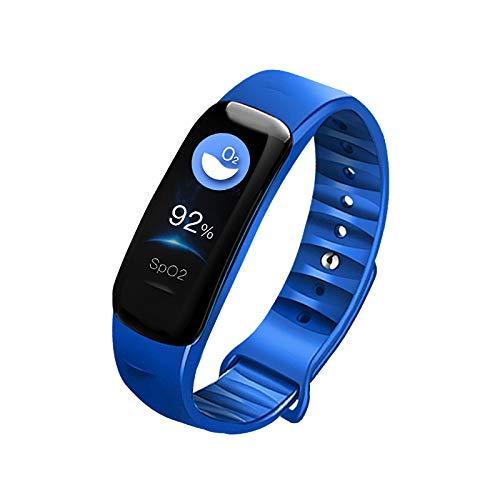Fitness Trackers IP67 Waterdichte Smart Bluetooth Armband met Hartslag Bloeddrukmeter en tellen Slaap Alarm-Smartwatch Polsbandjes voor Mannen Vrouwen kinderen (Blauw)