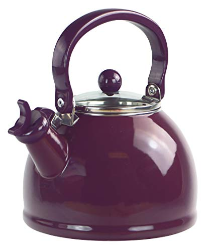 Calypso Basics by Reston Lloyd Harmonic Hum Whistling Teakettle with Glass Lid, 2.2-Quart, Plum
