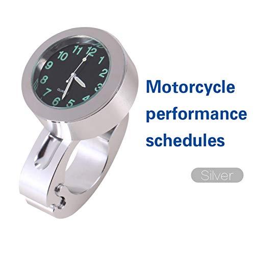 Reloj de montaje en manillar, reloj de manillar, práctico aluminio billet resistente a los golpes de alta gama 1 pieza Silver Chopper motocicleta crucero para personalización