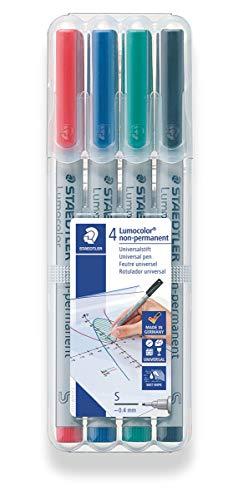 STAEDTLER Lumograph Non-Permanent Wet Erase Marker Pen, Super Fine Tip, Low Odor Colored Markers, Red-Blue-Green-Black 4 Pack, 311 WP4 (311 WP4 ST)