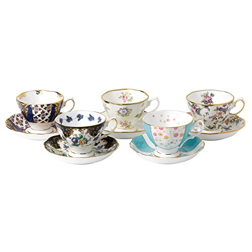 Royal Albert 100 Years 1900-1940 Teacup & Saucer Set, Multicolor , 5 Piece