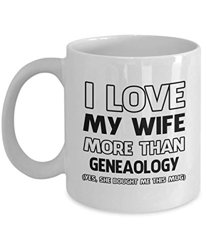 N\A Taza de geneaología - Amo a mi Esposa más Que - Taza de té y café de cerámica novedosa y Divertida Regalos geniales para Hombres o Mujeres con Caja de Regalo
