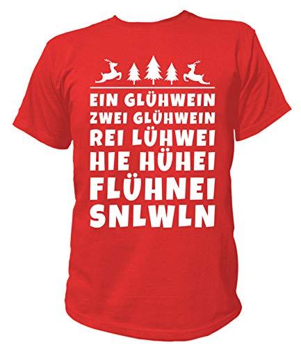 Artdiktat Herren T-Shirt | EIN Glühwein Zwei Glühwein Rei Lühwein | Spaß Humor Christmas Weihnachten Größe S, rot