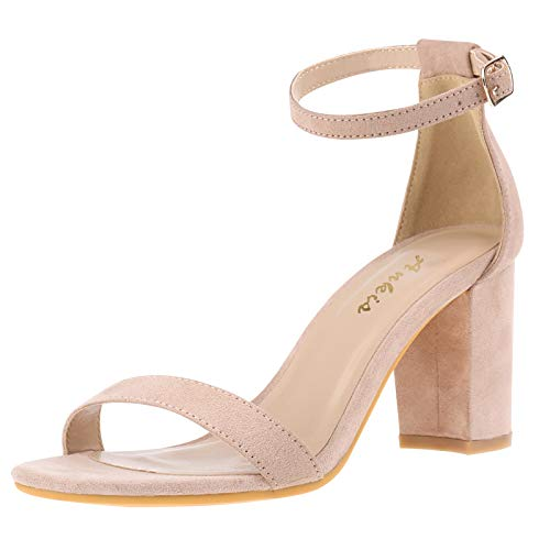Ankis Nude Heels for Women Open Straps on The Ankle Chunky Heels Pump Sandals Evening Dress Party Wedding Strappy Buckle Sandals Standard Size 2.75 Inches Tall Thick Heel Design Latex Insole 2.75 Inches Nude 8.5