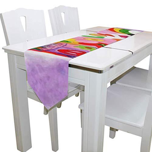 N/A Eettafel Runner Of Dresser Sjaal, Hippie Camper Trailer Vrede Teken Deck Tafelkleed Runner Koffie Mat voor Bruiloft Feest Banket Decoratie 13x90IN