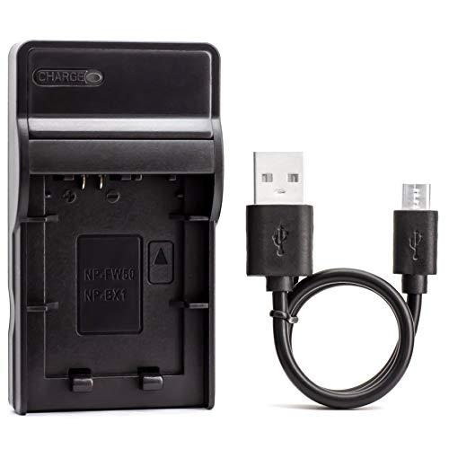 NP-FW50 USB Cargador para Sony Alpha 6000, 5000, 5100, ILCE-6000, ILCE-7, NEX-5T, NEX-6, NEX-5R, NEX-7, NEX-5, NEX-3N, NEX-3, NEX-C3, SLT-A37 Cámara y Más
