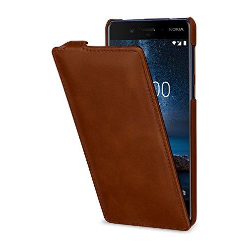 StilGut UltraSlim Case Hülle Leder-Tasche kompatibel mit Nokia 8, Cognac