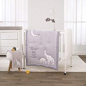 crib bedding and baby bedding nojo 3 piece mini crib bedding set, dream big little elephant, grey/white/gold