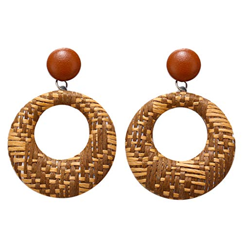 UINGKID Damen Ohrringe Mode Ohrstecker Böhmischen Stil Holz Bambus Rattan geometrische Runde Schmuck