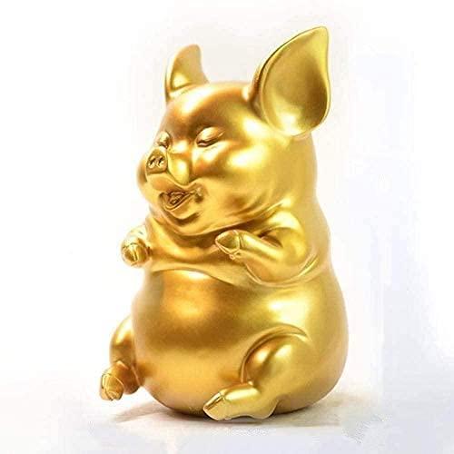 LZLYER Adornos de Decoración Del Hogar Escultura de Animales Bonita Oreja Cerdo Cajas de Dinero Diseño de Forma Escultura de Animal Dorado Abstracto Moderno para Decoración de Barra Creativa Escultur