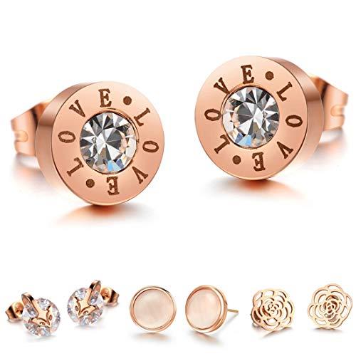 Kim Johanson Damen Ohrringe *15 Designs* aus Edelstahl in Roségold mit Zirkonia Steinchen oder Perlmutt besetzt inkl. Schmuckbeutel (Love)