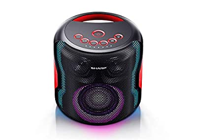 SHARP PS0919(BK) 130W Indoor/Outdoor Waterproof Portable Party Speaker with Built-in Rechargeable Li-ion Battery & Flashing Disco Lights, Bluetooth & TWS – Black by Sharp