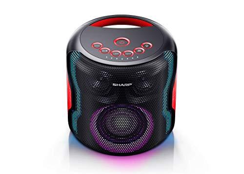 Sharp PS-919(BK) Party Speaker con TWS, Bluetooth 5.0 Puerto USB, Sonido 3D, Luces Multicolor, Impermeable IPX5 con 130 W de Potencia y batería integrada con hasta 14 Horas de reproducción, Negro