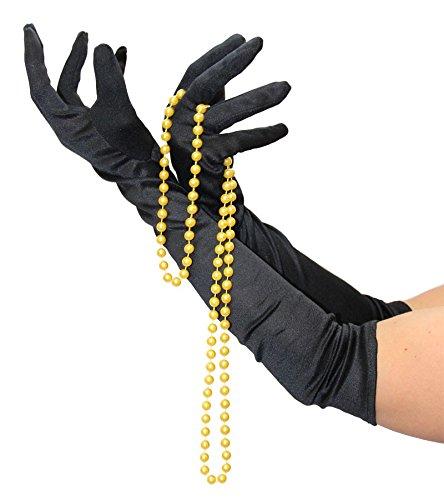 Foxxeo Handschuhe schwarz Lange Schwarze lang Halloween Kostüm