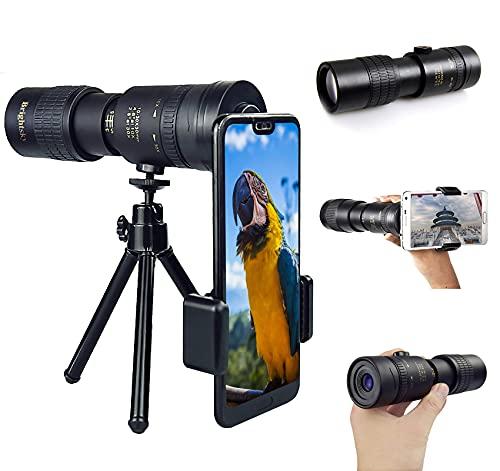 Monocular 4K 10-300 x 40 mm Telescopio Súper Teleobjetivo Zoom Telescopio Monocular Observación de Aves, Caza, Camping, Senderismo, Viajes, Impermeable y a Prueba de Golpes Catalejos de Gran Alcance