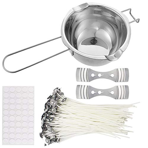 YAMYO DIY Candle Making Kit Includes Double Spouts Boiler Pot, 100 Pack Candle Wicks, 100pcs Candle Wicks Sticker and 2pcs 3-Hole Candle Wicks Holder