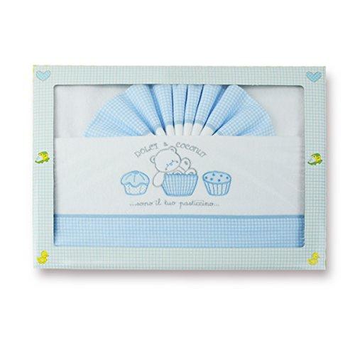 Pekitas: set di lenzuola 3pezzi in flanella per culla 60x 120cm, 100% cotone, prodotto in Portogallo. blu-bianco