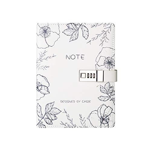 SFF PU Notebook contraseña Cerradura de combinación Diario Digital de Cierre Diario de la libreta Libro Diario del Diario por un Estudiante (Color : White)