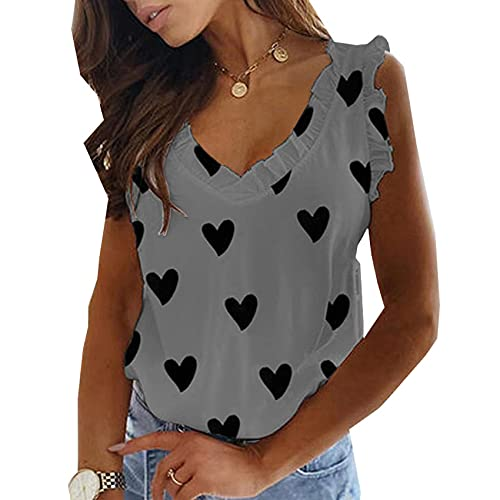 WAEKQIANG Chaleco Informal Blusa Amor Estampado con Cuello En V Volantes Plisado Camiseta Top Mujeres