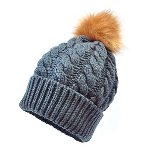 Tendycoco baby-wintermuts, warm, gebreid, voor ouders, kinderen, pompom, haak, muts (donkergrijs)