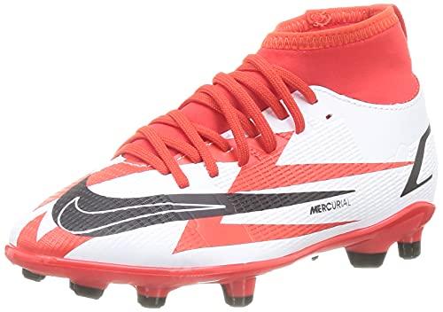 Nike JR Superfly 8 Club CR7 FG/MG, Scarpe da Calcio, Chile Red/Black-White-Total Orange, 35 EU