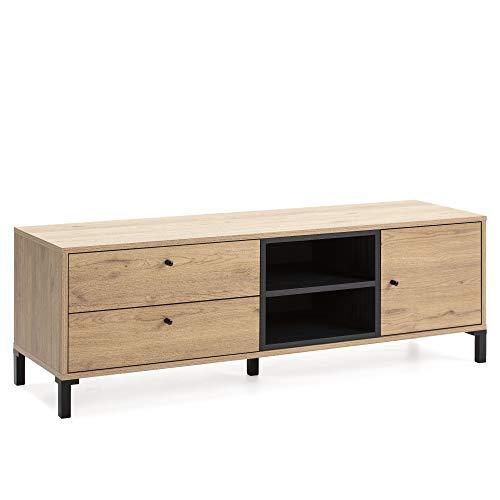 VS Venta-stock Mueble TV Javea 2 cajones y 1 Puerta, Color Madera y Negro, 136,5 cm (Ancho) 40 cm (Profundo) 47 cm (Altura)