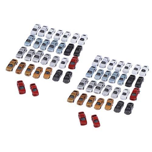 freneci 60Pcs 1/200 Z Spur Lackiertes Auto Miniatur Gebäude Landschaft Zubehör