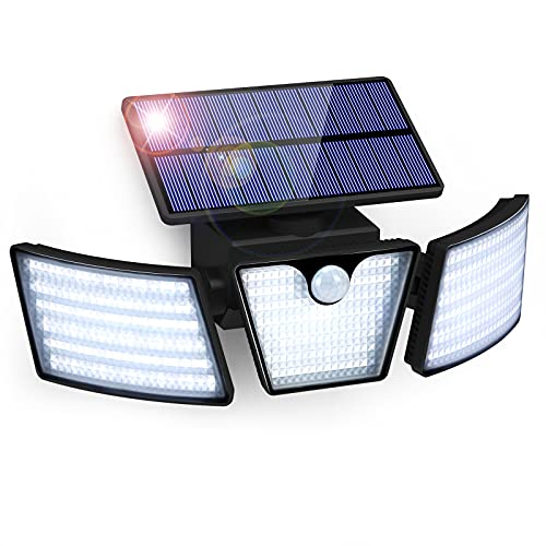 Solarlampen für Außen mit Bewegungsmelder GolWof 265 LED Solarleuchten IP65 Wasserdicht 270° Weitwinkelbeleuchtung Wandleuchte Solar Aussenleuchte für Garten Patio Garage