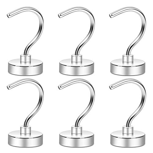 Neosmuk Magnetic Hooks, 50+LBS Large Opening Hook CNC Machined Base,Ideal for Cruise,Grill,Towel,Kitchen Indoor Hanging (Silvery White,Pack of 6)